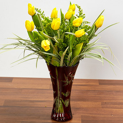 Bright Yellow Tulips In Maroon Vase: Birthday Gifts for Boss