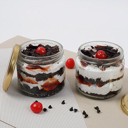 Set of 2 Tempting Black Forest Jar Cakes: