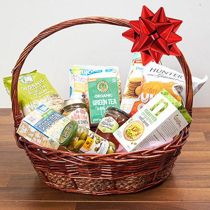 Mint Green Tea and Snacks Basket: Gift Hampers