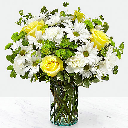Vase Of Happy Flowers: Wedding Anniversary Flowers