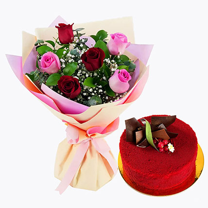 Pink and Red Roses with Red Velvet Cake: Anniversary Gifts