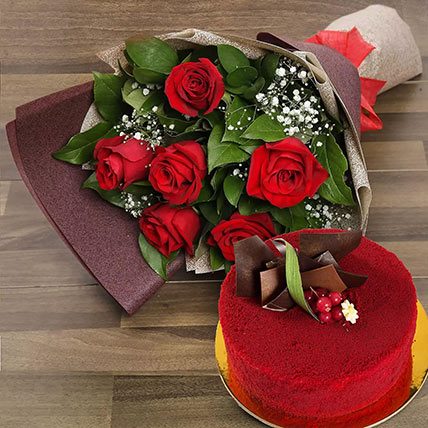 Red Roses with Red Velvet Cake: Anniversary Flowers for Husband