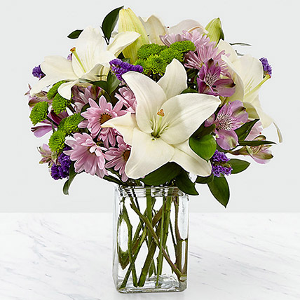 Bright Flowers Vase Arrangement: Halloween Gifts
