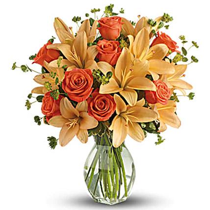 Orange Floral Vase Arrangement: