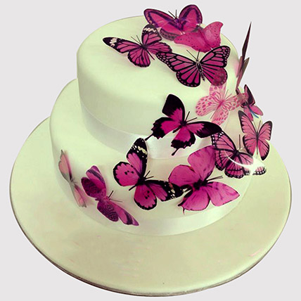 Pink Butterfly 2 Tier Cake: Butterfly Theme Cakes