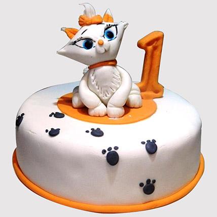 White Cat Birthday Cake: 1 year birthday cake