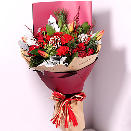 Tulips And Carnations Graceful Bouquet: Christmas Flowers to Dubai