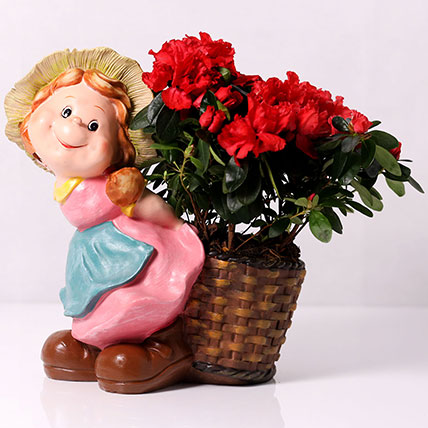 Red Azalea Plant in Girl Carry Basket Pot: