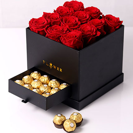 Forever Red Roses With Rochers In Box: Valentines Gifts For Her