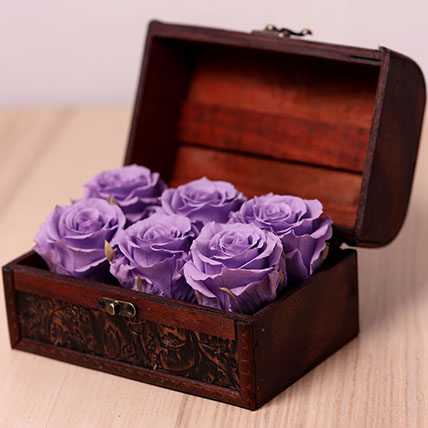 6 Purple Forever Roses in Treasure Box: Forever Roses