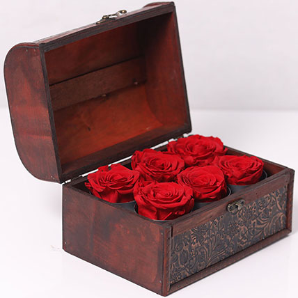 6 Red Forever Roses In Treasure Box: Forever Rose Dubai