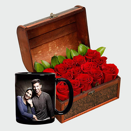 Romantic Roses and Personalised Mug: Wedding Anniversary Gift For Wife