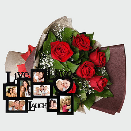 Roses Bouquet and Personalised Frame: Flowers N Personalised Gifts