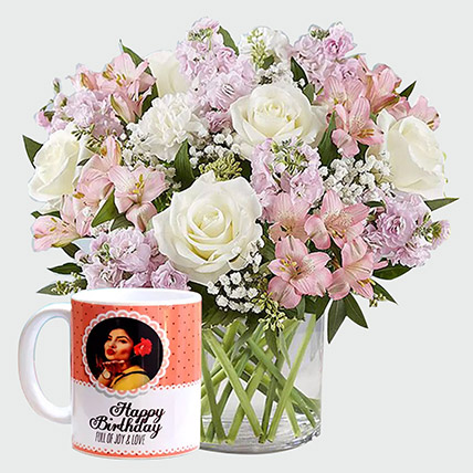 White Roses and Personalised Mug: