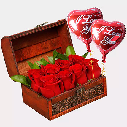 Treasured Roses with I Love You Balloons: