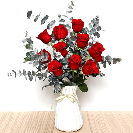 Ravishing Red Roses In Ceramic Pot: Valentines Gifts For Her