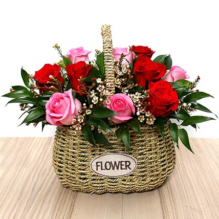Red and Pink Roses Mini Basket: Valentine Flowers in Abu Dhabi