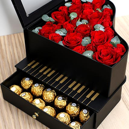 Roses and Chocolates Black Heart Box: Valentines Gifts For Her