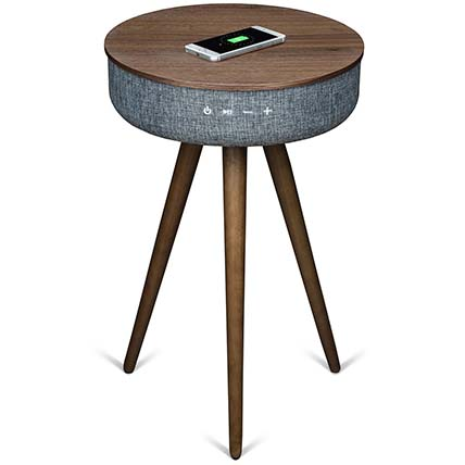 Walnut Wood Table with Bluetooth Speaker & Wireless Charger: Electronics Accessories