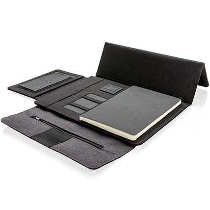 Grey N Black Workstation Portfolio with Powerbank:
