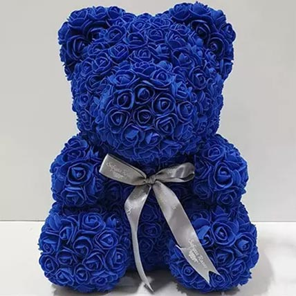 Blue Artificial Roses Teddy Bear: Valentine Gifts for Boyfriend