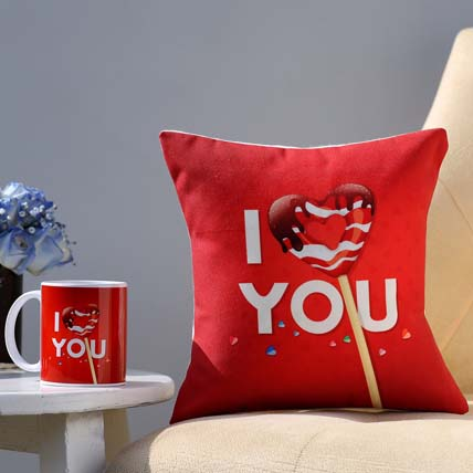 I Love You Coffee Mug & Cushion Combo: Valentine Personalised Gifts