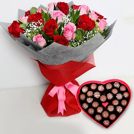 Pink and Red Roses Bouquet with Heartshaped Chocolates: Best Chocolate in Dubai