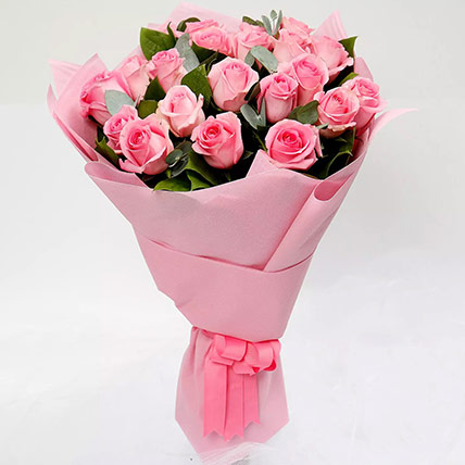 Ravishing Bouquet of 20 Pink Roses: Valentines Gifts