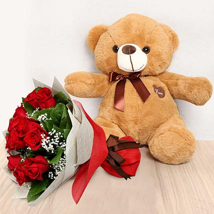 12 Red Roses Bouquet with Brown Teddy: Kiss Day Gifts