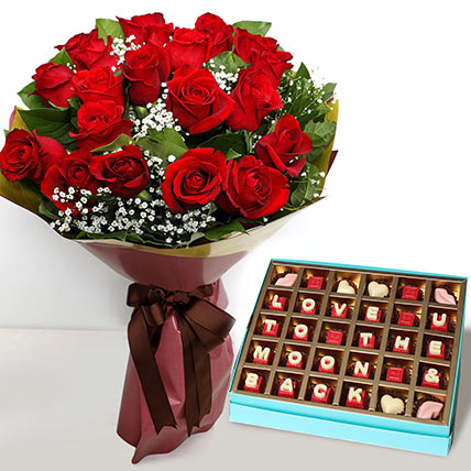 20 Red Roses Bouquet with Valentines Chocolates: Valentine Day Gift Hampers to Umm Al Quwain