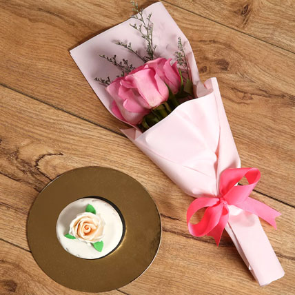 Pink Roses Bouquet & Mono Cake Combo: Anniversary Flowers & Cakes