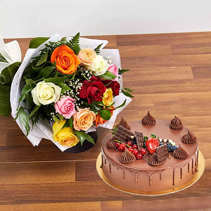 Dozen Multi Roses with Fudge Cake: Romantic Gifts
