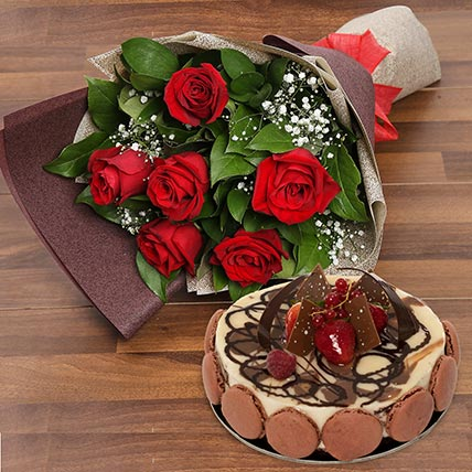 Enchanting Rose Bouquet With Marble Cake: Birthday Flowers & Cakes