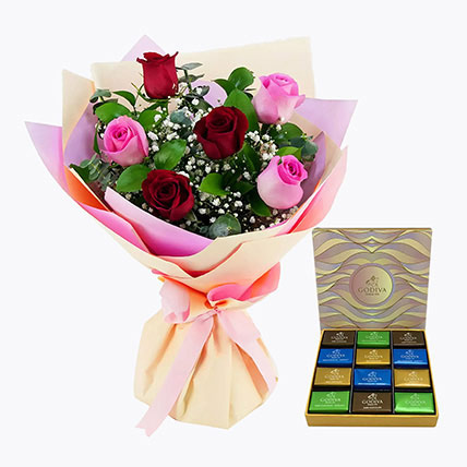 Pink and Red Roses With Godiva Chocolate Bar: Flowers and Chocolate Delivery