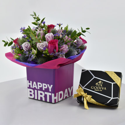Vibrant Flowers and Godiva Chocolates For Birthday: Birthday Flowers & Chocolates