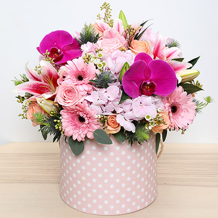 Pink and Peach Mixed Flowers Arrangement: Womens Day Flowers in Ajman