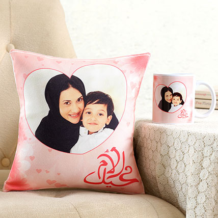 Personalised Hearty Cushion n Mug For Mom: Personalized Mother's Day Mugs