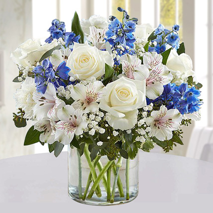 Blue and White Floral Bunch In Glass Vase: Get Well Soon Flowers