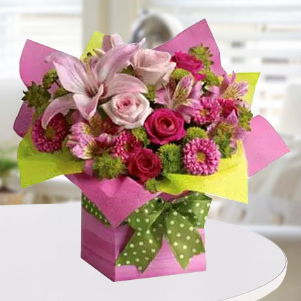 Pretty Pink Present: Mixed Flowers