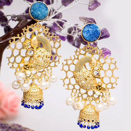 Gold Toned Peacock Shaped Jhumkas: Artificial Jewellery