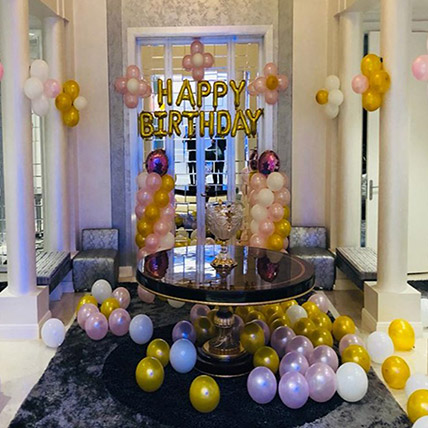Basic Birthday Package Gold White: Balloon Decoration Dubai