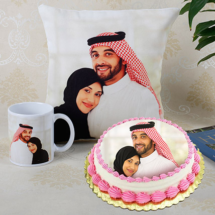 Combo of Personalised Cushion Mug And Cake: Best Gift for Wife
