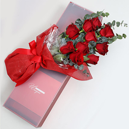 Magical Red Roses Box: Valentine Day Flowers in Ras Al Khaimah