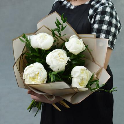Elegant 5 White Peonies Bouquet: Peonies Bouquets