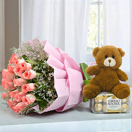Hamper to Surprise U: Teddy Day Flowers and Teddy Bears