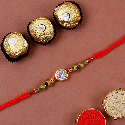 Natural White Stone Rakhi And 3 Pcs Ferrero Rocher: Rakhi With Chocolates