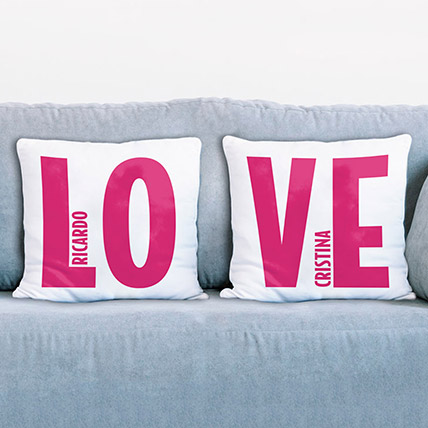 Set of 2 Personalise Love Cushions: Personalised Combos