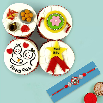 Red Pearl Rakhi and Cup Cakes:  Rakhi Delivery