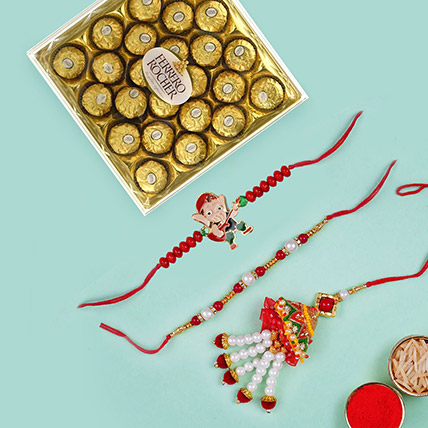 Chocolate with Lumba set and Ganesha Rakhi:  Rakhi Delivery