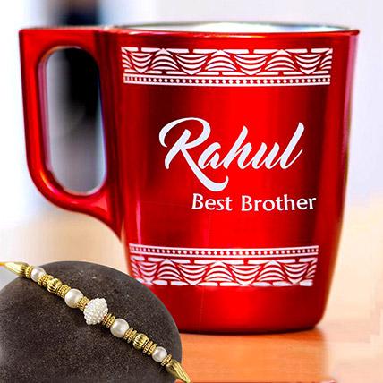 Golden Pearl Rakhi and Personalised Engraved Mug: Rakhi With Mugs